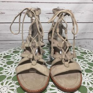 FRYE Suede Gladiator Chunky Heel Lace Up Sandals